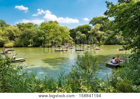 NEW YORK,USA - AUGUST 19,2016 : Rowboats at The Lake at Central Park in New York City on a beautiful summer day
