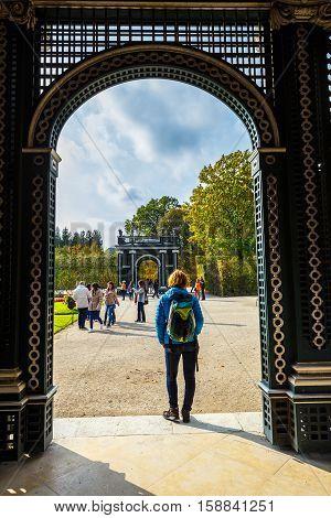 Vienna, Austria, October 14, 2016: Arbor In The Garden, Schonbrunn Palace In Vienna, Austria