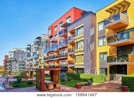 Vilnius, Lithuania - September 27, 2016: Modern complex of apartment residential buildings. With benches and outdoor facilities.