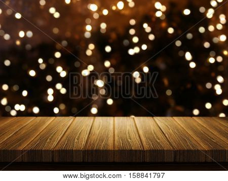 3D render of a wooden table with a defocussed Christmas image in the background