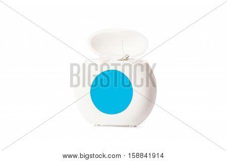 Dental floss isolated on white background. Dental care