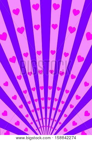 Vector Hearts and  Stripes Radiation Poster Background