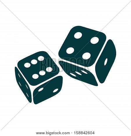 Game dices icon. Two game dice isolated on white background. Casino symbol minimal design. Vector illustration
