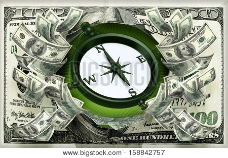 Money With A Compass 3D Illustration
