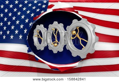 American Flag With The Original 3D Character Illustration Spinning In Gears