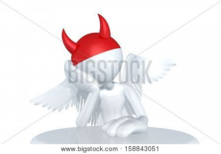 Angel Character With Devilish Thoughts 3D Illustration