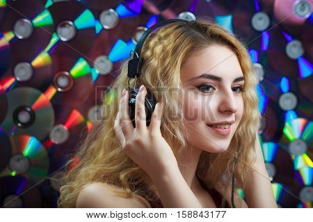 Beautiful Woman In Headphones Have Fun And Listen Music