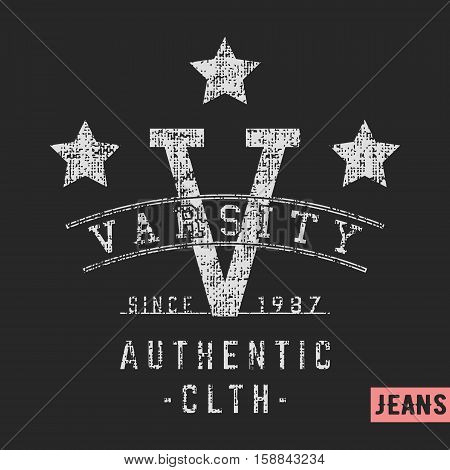 T-shirt print design. Varsity stars vintage stamp. Printing and badge applique label t-shirts, jeans, casual wear. Vector illustration.
