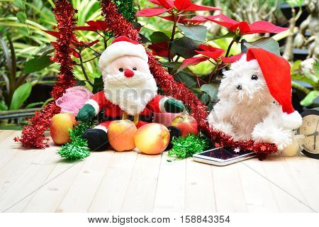 Santa claus, white dog doll, apples and smart phone on christmas day.