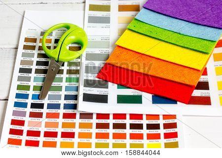 set designer palettes on working desk close up.