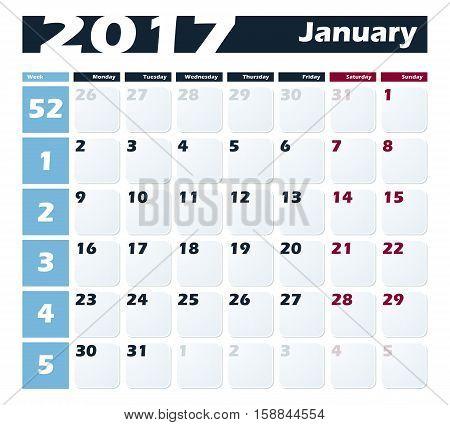 Calendar 2017 January vector design template. Week starts with Monday.
