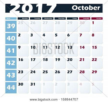 Calendar 2017 October vector design template. Week starts with Monday.