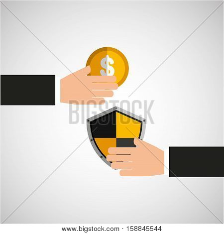 hands holds shiel protection coin vector illustration eps 10