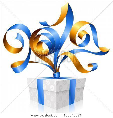 Vector blue ribbon and gift box isolated on white background. Symbol of New Year 2017