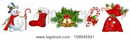 Traditional Christmas symbols. Vector illustration.