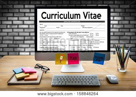 Cv - Curriculum Vitae  (job Interview Concept With Business Cv Resume) Cv Part Of Modern Resume , Cv