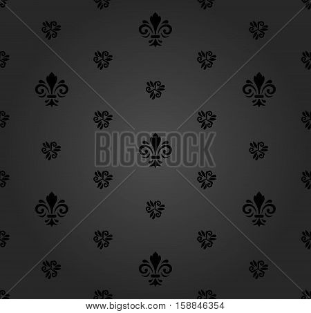 Seamless dark ornament. Modern geometric pattern with royal lilies