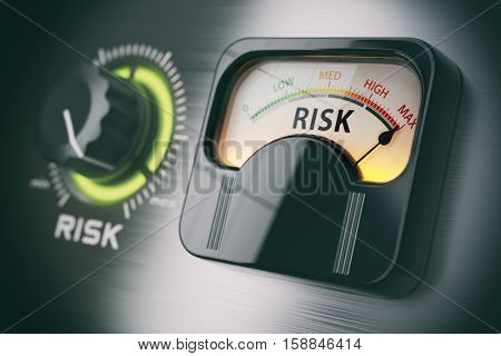 Risk of investment strategy concept. Swith knob positioned on maximum risk. 3d illustration