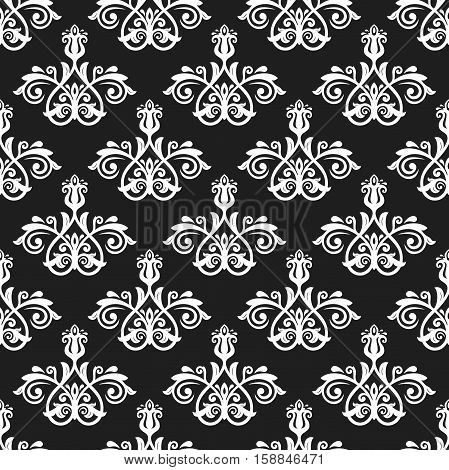 Seamless oriental pattern in the style of baroque. Traditional classic ornament. Black and white pattern