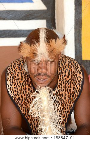 Gauteng, Lesedi Cultural Village. South Africa - 12 March, 2016. Zulu Warrior portrait. Zulu is one of the tribes of South Africa. The Zulu tribe were known for their fighting skills.