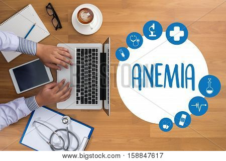 ANEMIA blood for Anemia test Medical Concept: Anemia Diagnosis Iron deficiency anemia ANEMIA Medicine doctor hand working Professional doctor aplastic anemia