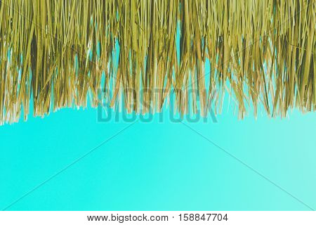 Under Grass roofs Thatched with blue sky vintage tone filter for retro background