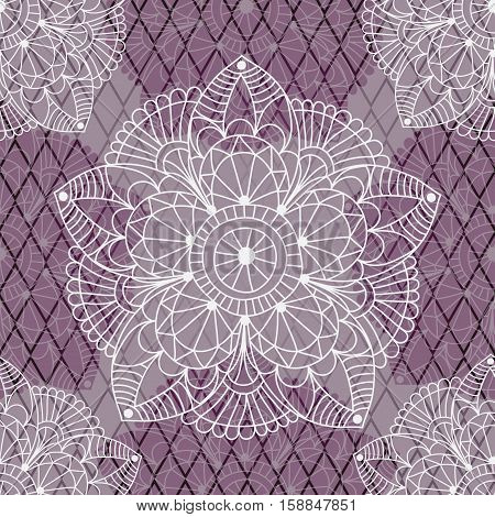 Seamless pattern with white and translucent purple vintage figures on the lilac rhombuses vector eps10