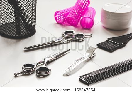 hairdresser working desk preparation for cutting hair close up