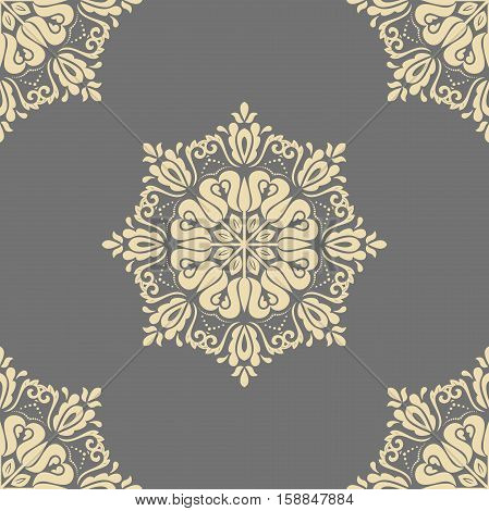 Seamless oriental pattern in the style of baroque. Traditional classic ornament. Gray and golden pattern