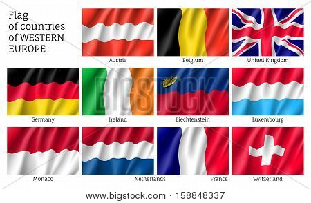 Set of flags of Western Europe countries. 11 ensigns of Western Europe member states. Vector 3d icons isolated on white background.
