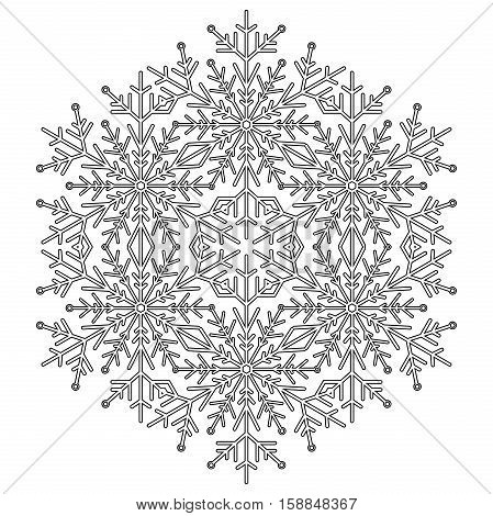 Round snowflake. Abstract winter ornament. Black and white pattern