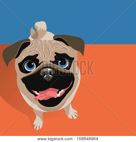 vector illustration of a happy funny Pug dog. Space for text. For posters, cards, banners, t-shirts