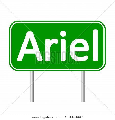 Ariel road sign isolated on white background.