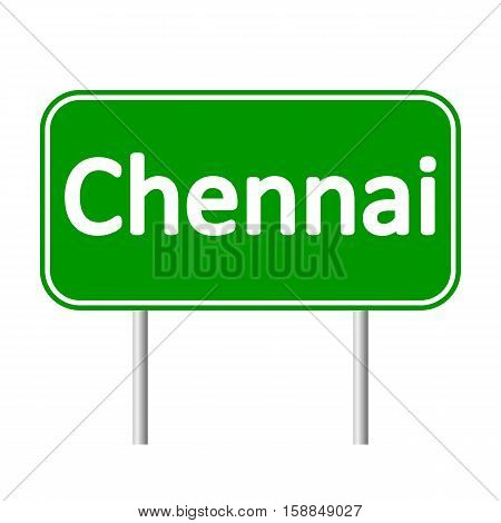 Chennai road sign isolated on white background.