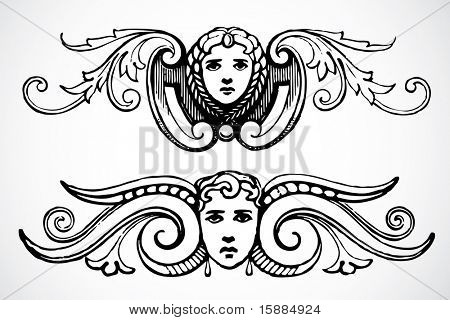 Vector Female Header Ornaments