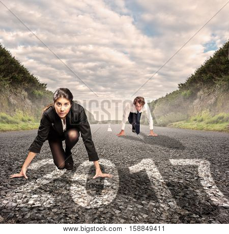 man versus woman on a road with year 2017 painted on it