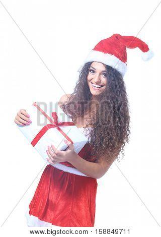 Christmas Santa isolated woman portrait hold christmas gift.