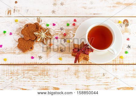 Christmas background. Christmas decoration. Нoliday cookies on  wooden table
