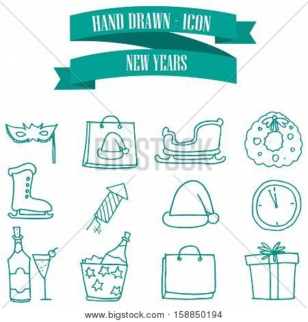 Collection stock New Year icons vector illustration