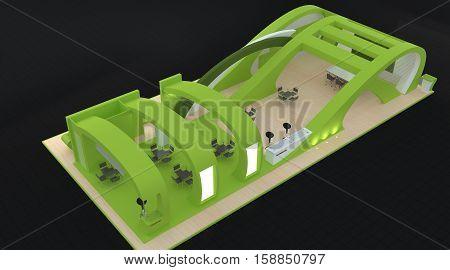 Blank Modern Booth Exhibition Design Concept 3D Rendering 3D Illustration
