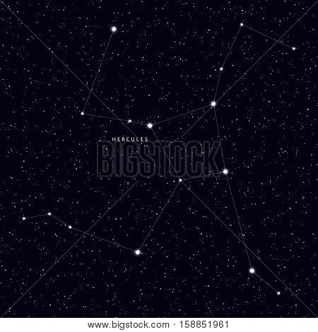 Sky Map with the name of the stars and constellations. Astronomical symbol constellation Hercules