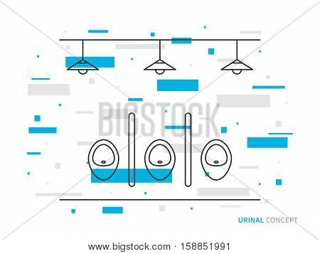 Urinals line art vector illustration. Public toilet line art concept. Male restroom outline graphic design. Lavatory for gentlemen linear interior. Water closet indoor interior.