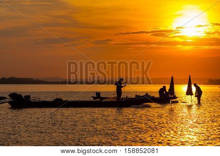 Local life and sunset in Mekong river, Laos