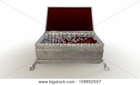 3D rendering Jewelery case with DIAMOND feels on white background