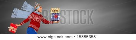 Happy woman with gifts
