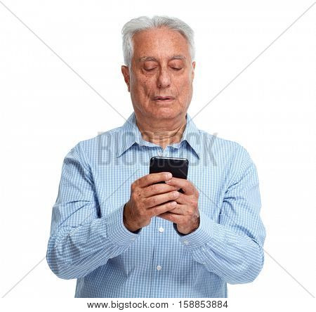 Old man with smartphone