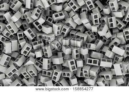 3d rendering of a huge amount of gray cinder blocks lying together in disorder, top view. Building materials. Construction industry. Renovation of premises.