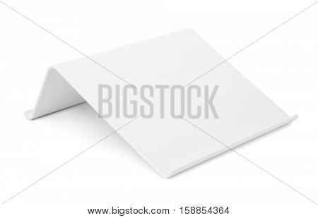 White plastic tablet stand isolated on white