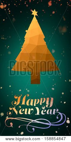 Elegant happy new year and christmas tree against background of colors