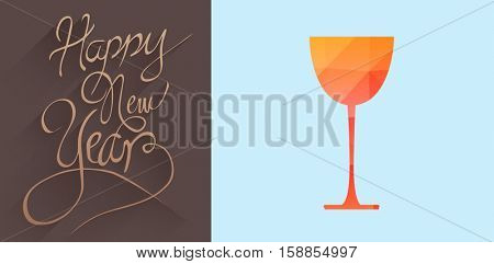 graphic glass with mosaic against classy new year greeting